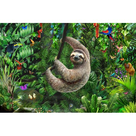 Sloth in Jungle Poster Print by Adrian Chesterman](Sloth Rental)