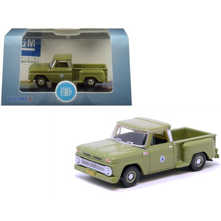 "1965 Chevrolet C10 Stepside ""Bell System"" Pickup Truck Green 1/87 (HO) Scale Diecast Model Car by Oxford Diecast"