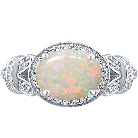 Vintage Oval Opal & Round Diamond Halo Unique Ring 14k White Gold 1.66 tcw Vintage Opal Cocktail Ring