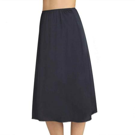 Vanity Fair Solutions Women`s Satin Glance Half Slip, M-28 Length, MID BLACK Mid Cut Slip