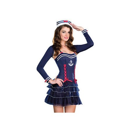 Sin City Costumes (Dreamgirl Surf City Sweetie Sailor Costume Set 7576)