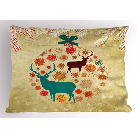 Christmas Pillow Sham Reindeer and Snowflakes in Abstract Balls Ornament Vintage Design Paper Art Image, Decorative Standard King Size Printed Pillowcase, 36 X 20 Inches, Beige, by Ambesonne