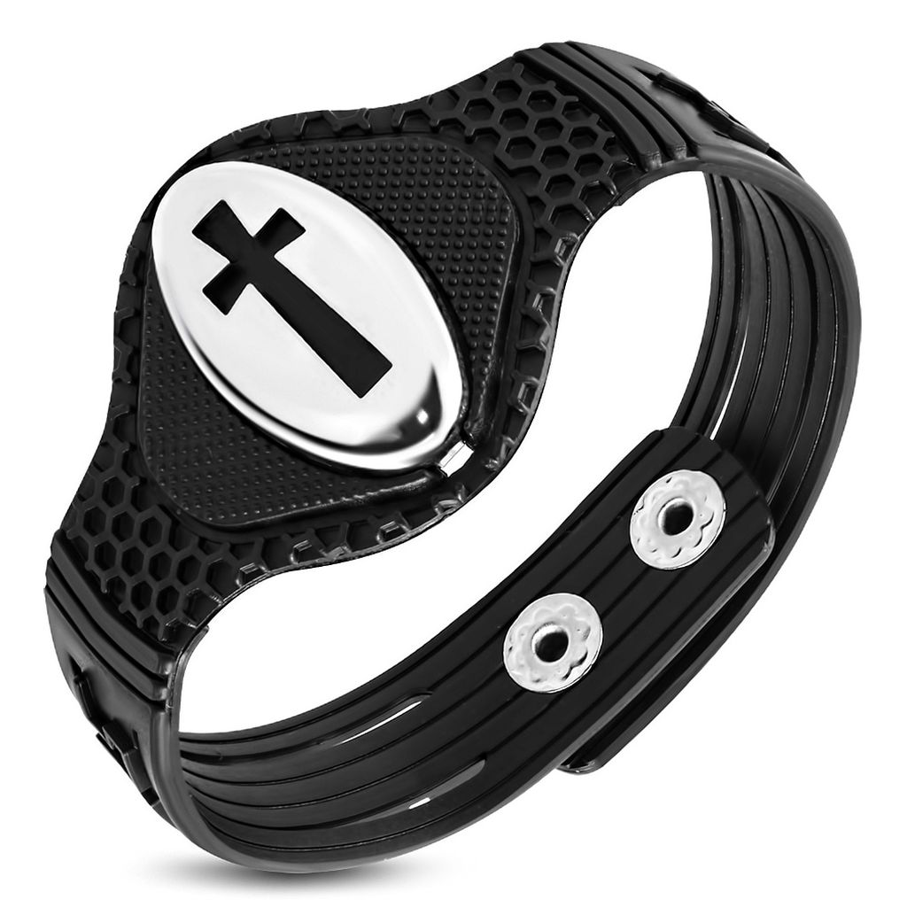 Black Rubber Snap Bracelet with Stainless Steel Pattee Cross Oval Cut Out
