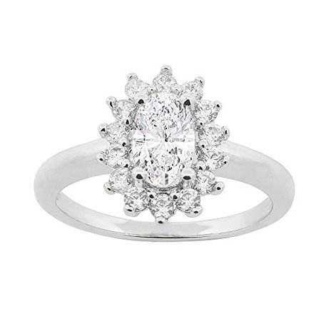 Cate & Chloe Sage 18k White Gold Halo Engagement Ring, Simulated Diamond Ring, CZ Ring, Best Silver Rings for Women, Girls, Wedding Ring, Promise Ring, Bridal Ring MSRP