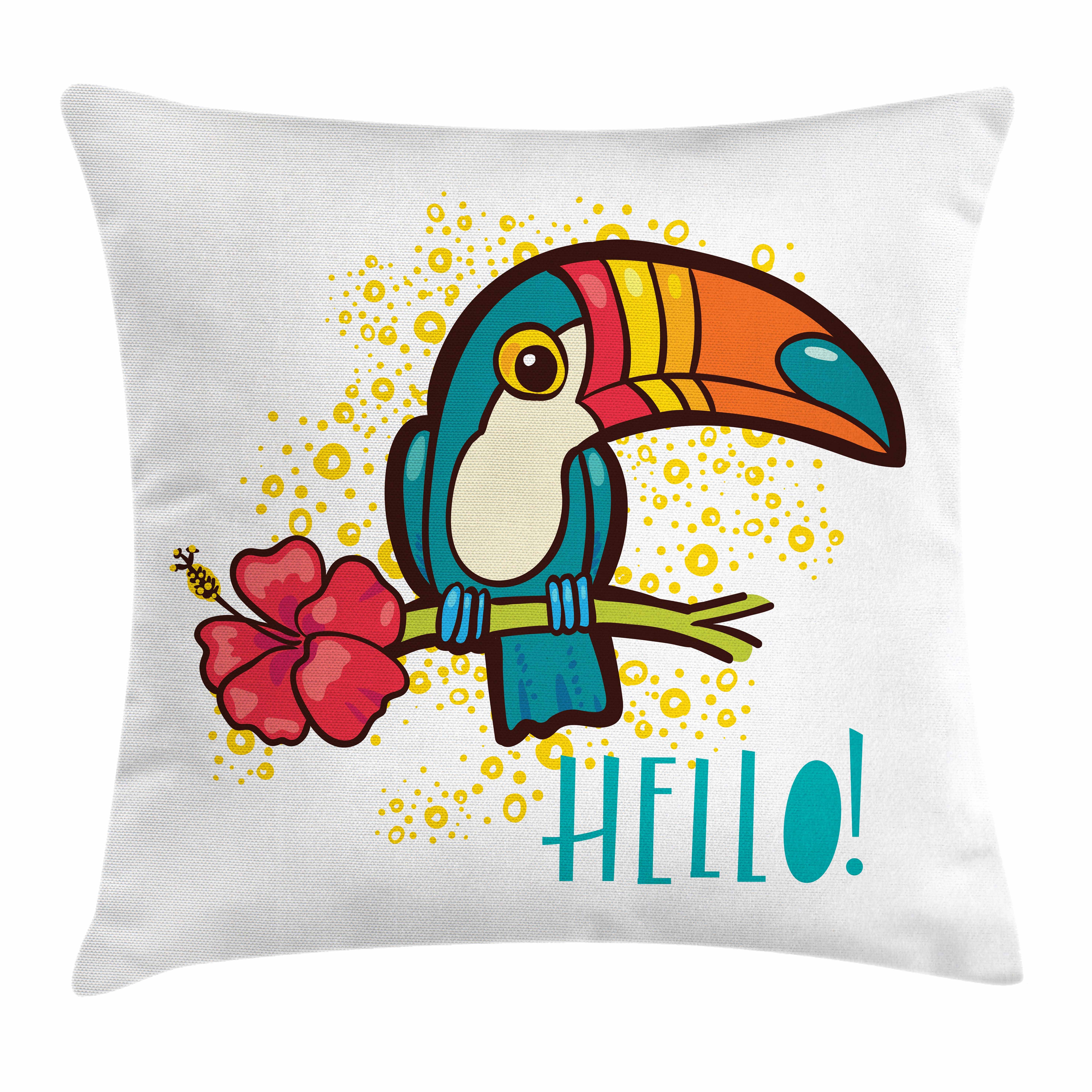 Hello Throw Pillow Cushion Cover, A Tropical Hello from Hawaiian Island Ramphastidae Toucan Bird with Hibiscus Flower, Decorative Square Accent Pillow Case, 16 X 16 Inches, Multicolor, by Ambesonne