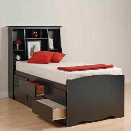 Black Sonoma Tall Twin Bookcase Platform Storage Bed