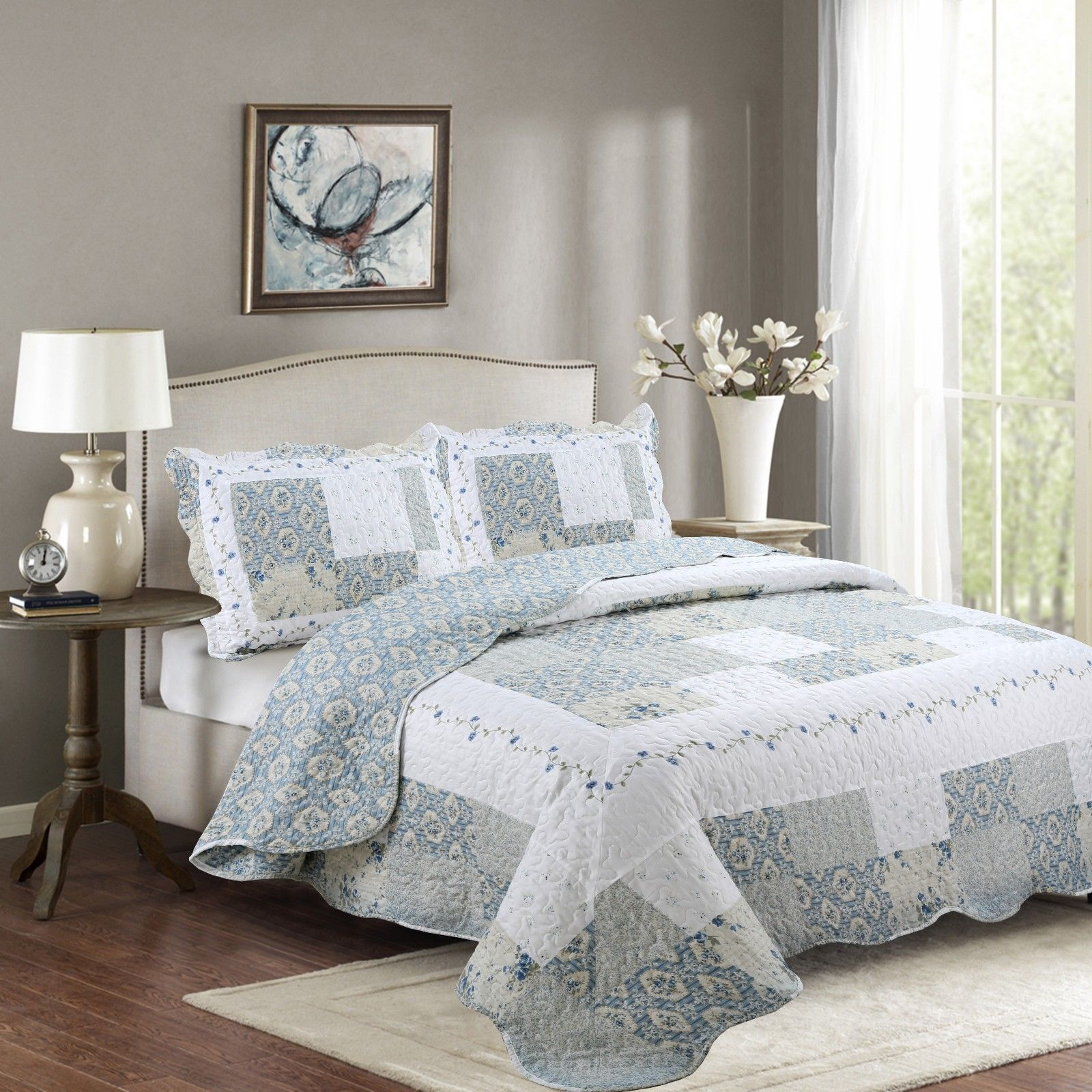 Fancy Linen 2pc Twin Reversible Bedspread Floral White Blue Beige New # Isabelle