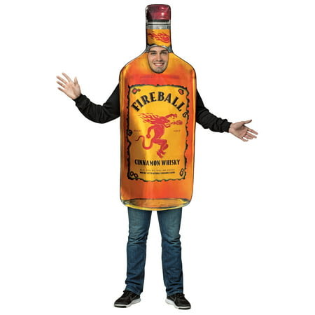 Homemade Wine Bottle Halloween Costume (Fireball Bottle Men's Adult Halloween Costume, One Size,)