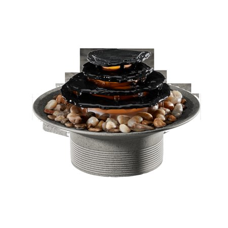 Homedics WFL-200NL Mirra Zen Tabletop Relaxation Fountain (Gray) Tabletop Fountain Natural Grey Slate