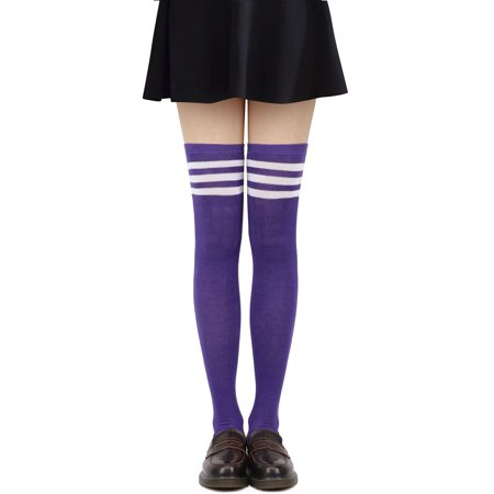 94caca7fe54 Simplicity - Tube Socks Women s Retro Striped Trim Long Knee High Socks  Stockings