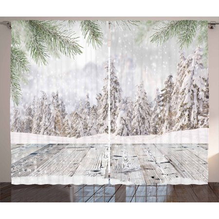 Winter Curtains 2 Panels Set  Abstract Christmas Theme With Snow Covered Forest And Wooden Surface Image  Window Drapes For Living Room Bedroom  108W X 84L Inches  Green White Beige  By Ambesonne