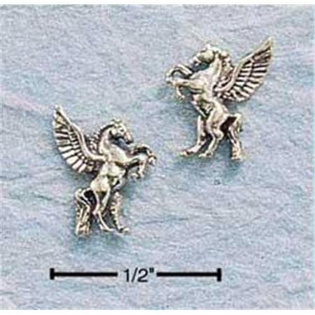 Sterling Silver Mini Antiqued Pegasus Earrings On - Pegasus Earrings