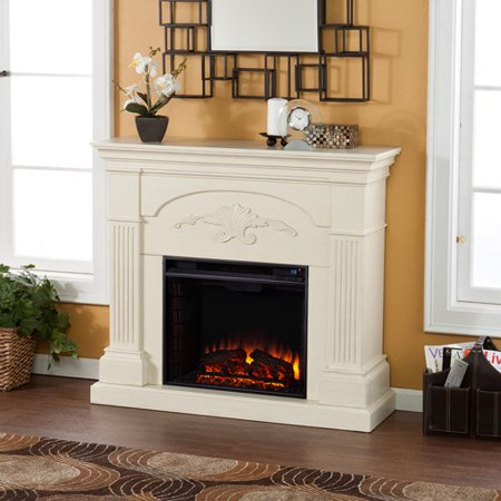 Southern Enterprises Chamberlain Electric Fireplace, Ivory (20 Fireplace Cover)