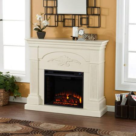 Ivory Gel Fuel Fireplace - Southern Enterprises Chamberlain Electric Fireplace, Ivory