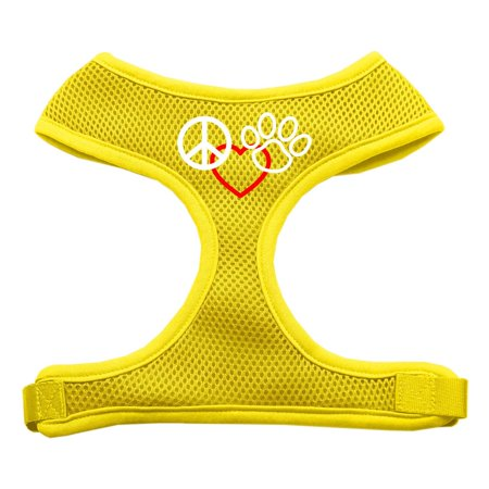 Peace, Love, Paw Design Soft Mesh Harnesses Yellow Medium