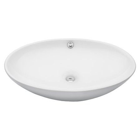 Novatto Oval Vessel Bathroom Sink with Overflow (1h Vessel)