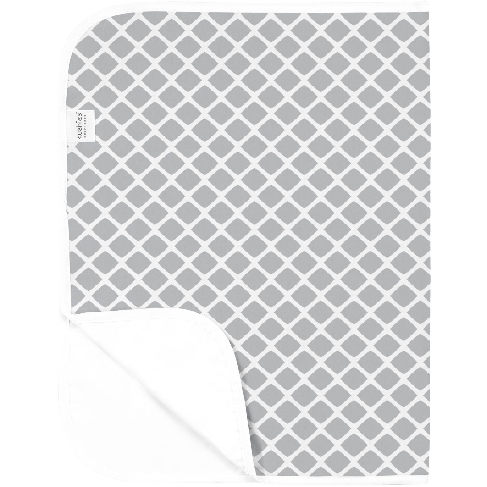 Kushies Deluxe Flannel Change Pad, Lattice Grey