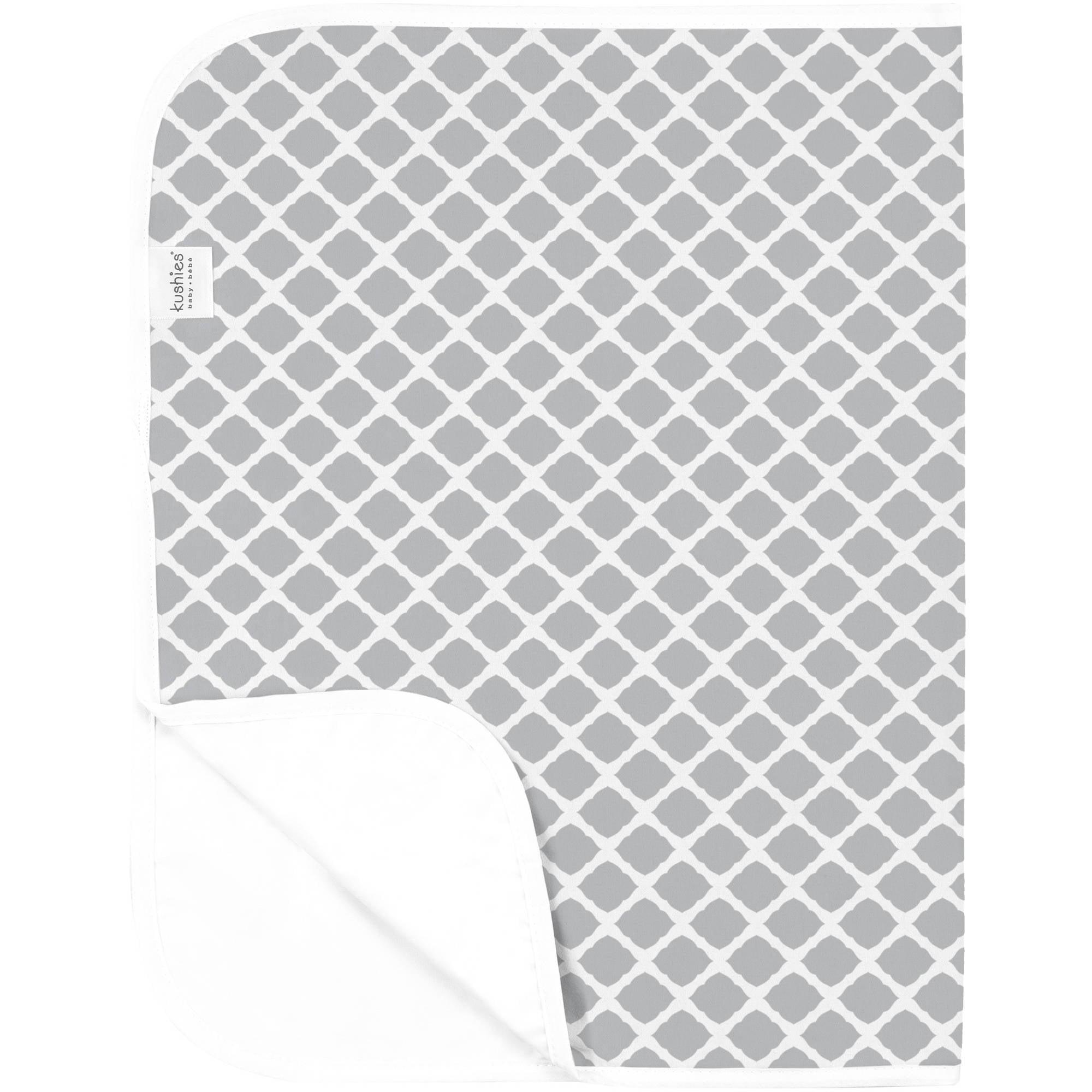 Kushies Deluxe Flannel Change Pad, Lattice Grey