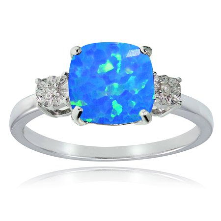 Sterling Silver Created Blue Opal and Diamond Accent Cushion-cut Ring Cushion Cut Opal Ring
