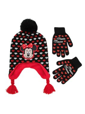 info for c3ee1 b22cf Product Image Disney Minnie Mouse Hat and Gloves Cold Weather Set, Little  Girls, Age 4-