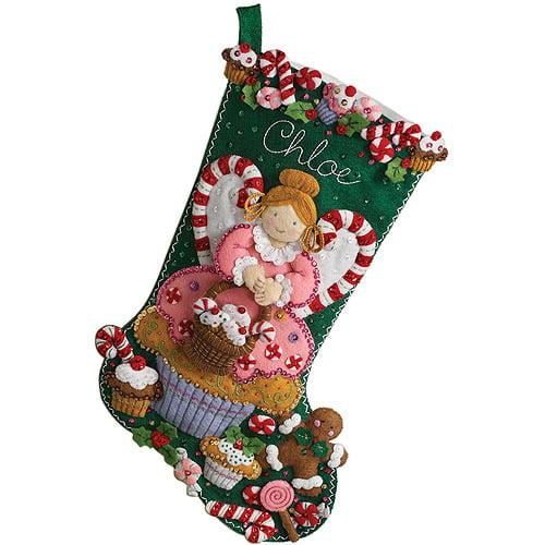 Bucilla Felt Applique Stocking, Cupcake Angel
