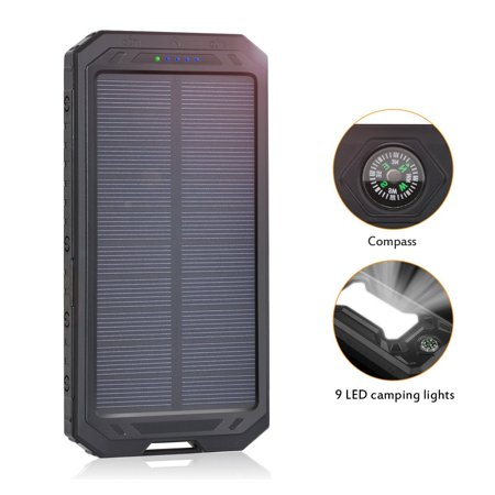 Solar Charger 12000Mah  Portable Power Bank Dual Usb Solar Battery Charger For Cellphones  Camera  Gps  Tablets And More