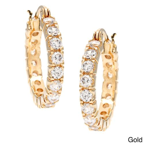 Simon Frank 3.52ct. Equal Diamond Weight Bright White CZ Hoop Earrings Gold Plated