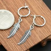 FEAMOS Men Women Punk Vintage Silver Earrings Feather Tassel Long Chain Pendant Stainless Steel Drop Earrings Unisex Jewelry