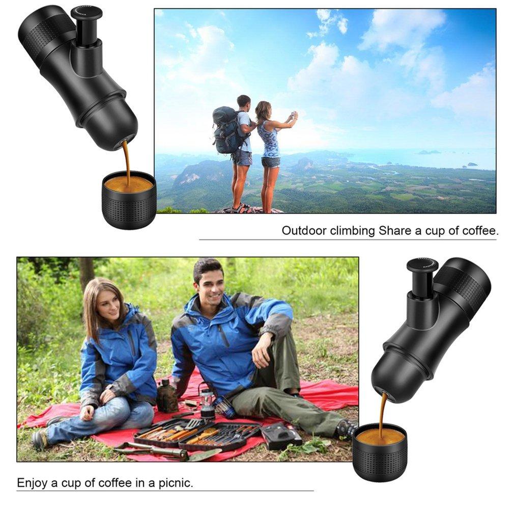 Click here to buy Portable Espresso Machine Hand Held Coffee Maker Mini Manual Espresso Machine.