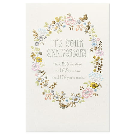 American Greetings Joys Love Life Anniversary Card for Couple with Glitter
