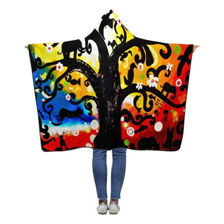 HATIART Life Tree Hooded Blanket 50x60 inches Kids Girls Boys Toddler Polar Fleece Blankets Throw Wrap - image 1 of 2