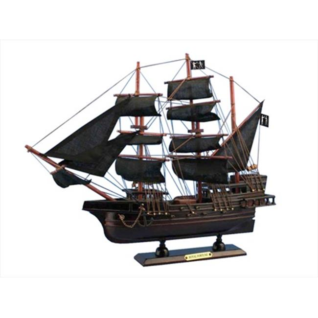 Handcrafted Model Ships RoyalFortune 15 Black Barts Royal Fortune 15 in. Decorative Model Pirate Ships