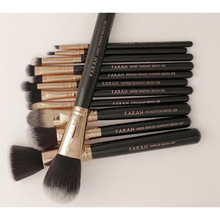farah 12 piece luxe makeup brush set with case coral