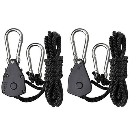 2-Pack Ratchet 1/8 Inch Adjustable Heavy Duty Tie Down Rope Carabiner Hook Clip Hanger 150lb Capacity for Grow Light Luggage Strap - image 1 of 6