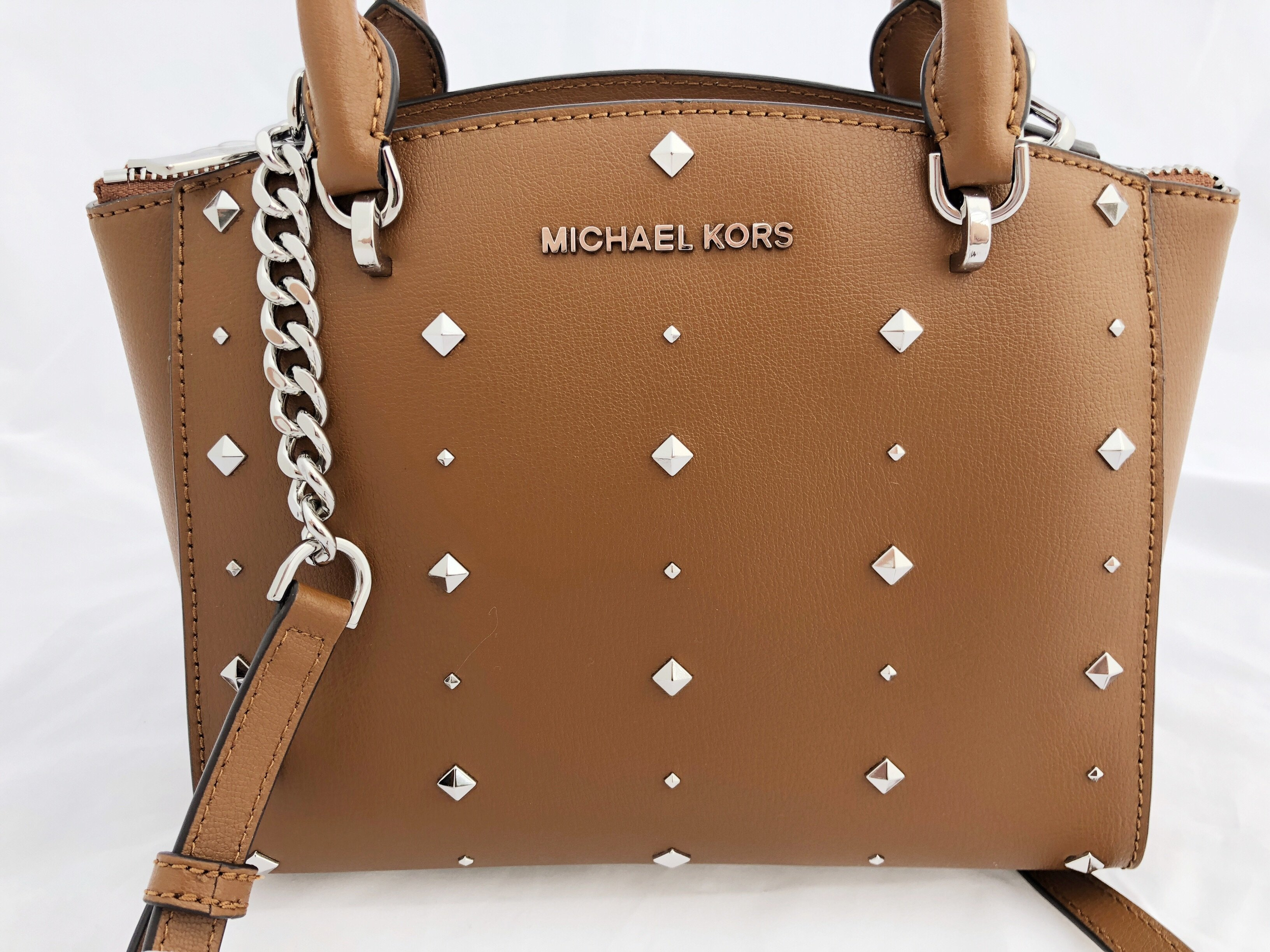 d5255d4ac6 ... spain nwt michael kors ellis small convertible satchel crossbody stud  luggage brown walmart b3b40 e24e0