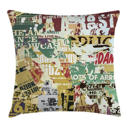 Retro Throw Pillow Cushion Cover, Grunge Style Collage Print of Old Torn Posters Magazines Newspapers Paper Art Print, Decorative Square Accent Pillow Case, 16 X 16 Inches, Multicolor, by Ambesonne