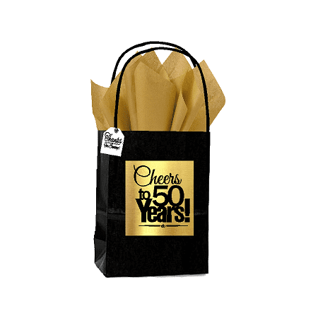 Black And Gold Party Theme (Black & Gold 50th Birthday / Anniversary Cheers Themed Small Party Favor Gift Bags with Tags -12pack)
