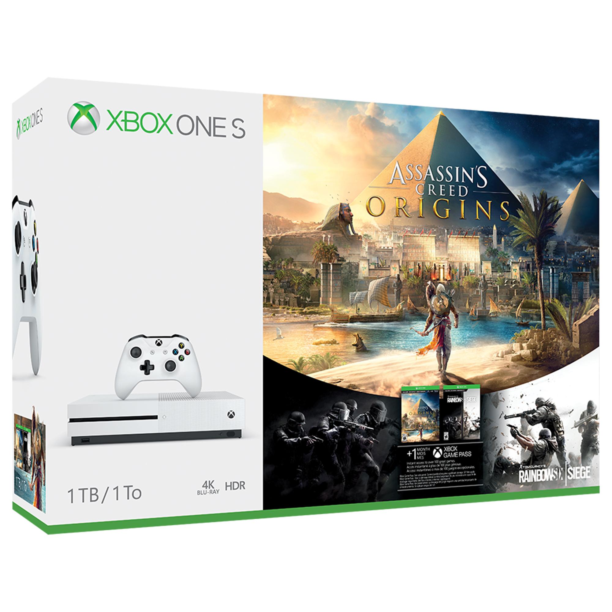 Microsoft Xbox One S 1TB Assassin's Creed Origins Bonus Bundle, White, 234-00226