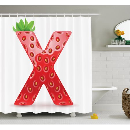 Letter X Shower Curtain, Vegetarian Typography with Tropical Fruits Healthy Ripe and Sweet, Fabric Bathroom Set with Hooks, 69W X 84L Inches Extra Long, Vermilion Green Orange, by Ambesonne