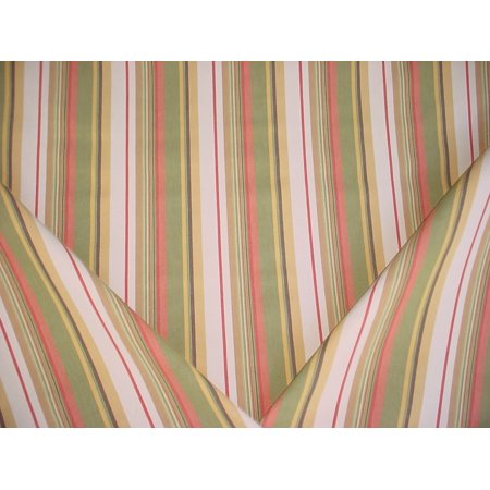 Santee Fabrics Lotus in Olivette - Heavy Olive / Tea Rose Cotton Stripe Designer Upholstery Drapery Fabric - By the Yard (Lotus Fabric)
