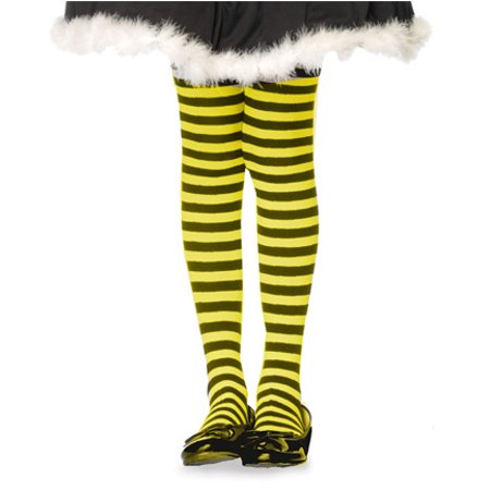 Plus Size Opaque Black & Neon Yellow Fairy Striped Tights](Purple And Pink Striped Tights)