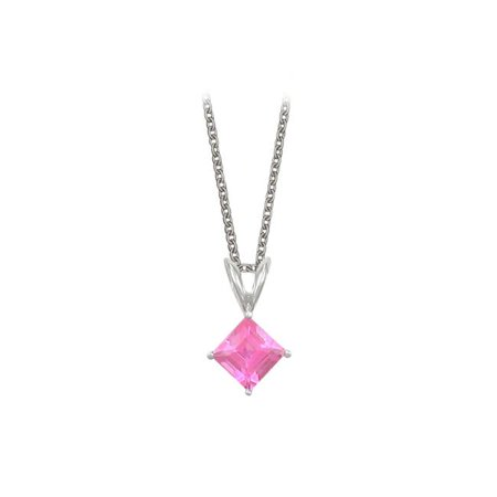 Fine Jewelry Vault UBUVVPDVSQ600PSAG Square Cut Created Pink Sapphire Pendant Necklace in Sterling Silver. 1ct.tw.
