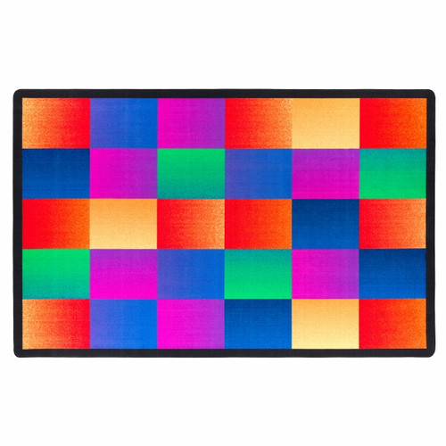 Flagship Carpets Glow Blocks Blue/Pink Area Rug