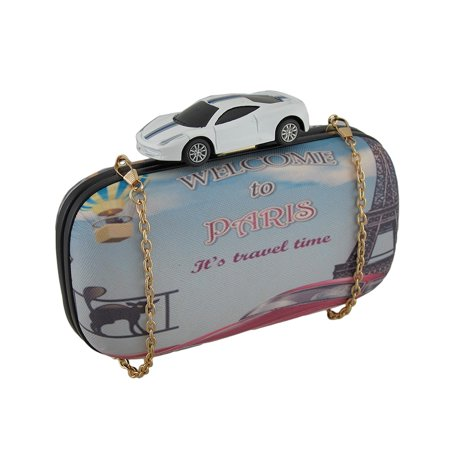 Toy Sports Car Paris Themed Hard Shell Clutch Purse