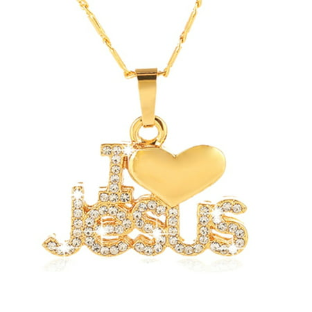 I Love Jesus Crystal Pendant Heart Goldplated Tarnish Resistant Christian Jewelry Necklace, J-323-A - 70s Necklaces