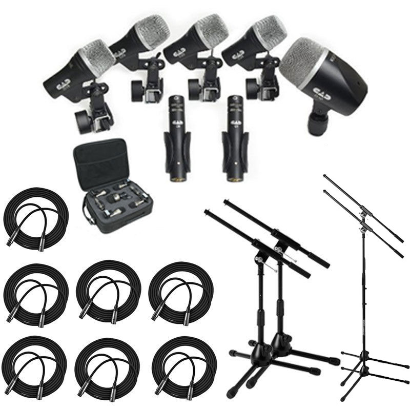 CAD Audio Stage7 Premium 7-Piece Drum Instrument Mic Pack With Vinyl Carrying Case & 7 25'... by CAD