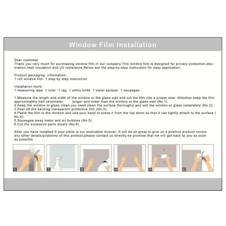 WALFRONT 3D Privacy Window Films Sticker Non Adhesive Static Cling Reusable Glass Film for Home Office - image 4 de 6