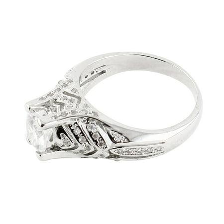 Women Ladies Metal Faux Rhinestone Inlaid Finger Ring Band Silver Tone US 10 - image 2 de 4