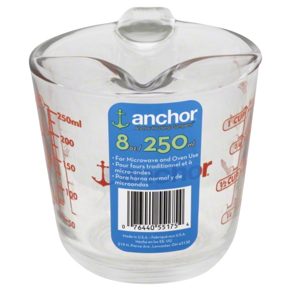 Anchor Hocking 1 Cup Decorated Glass Measuring Cup, 1 Each