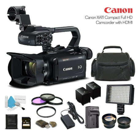 Canon XA11 Compact Full HD Camcorder With 64GB Memory Card, Extra Battery and Charger, UV Filter, LED Light, Case, Telephoto Lens, Wide Angle Lens, and More - Advanced